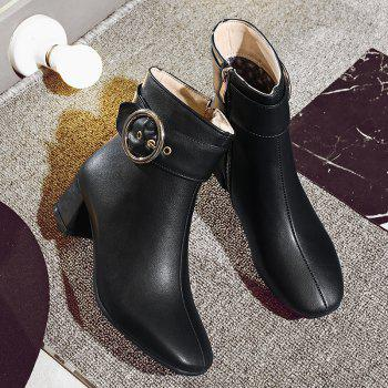 Chic Solid Shiny Metal Circular Ring Ornament Women's Boots - BLACK 38