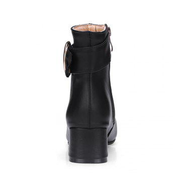 Chic Solid Shiny Metal Circular Ring Ornament Women's Boots - BLACK 35