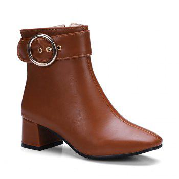 Chic Solid Shiny Metal Circular Ring Ornament Women's Boots - BROWN BROWN