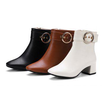 Chic Solid Shiny Metal Circular Ring Ornament Women's Boots - WHITE 34