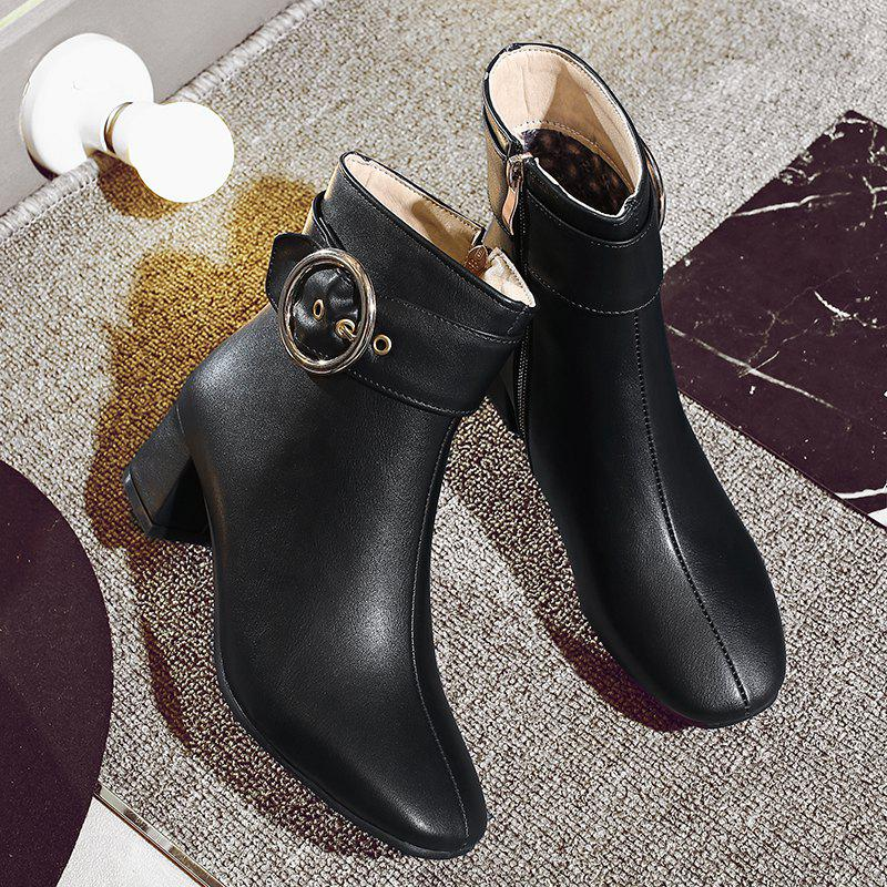 Chic Solid Shiny Metal Circular Ring Ornament Women's Boots - BLACK 37