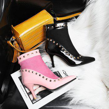 Women's Ankle Boots Pointed Toe Rivet Decor Elegant Sexy Heels Shoes - BLACK 34