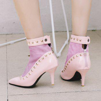 Women's Ankle Boots Pointed Toe Rivet Decor Elegant Sexy Heels Shoes - PINK 34