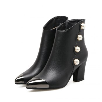 Women's Bottine Pointed Toe Side Zipper Square Heel Boots - BLACK BLACK