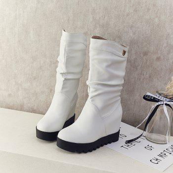 Women's Bottines All-match Fashion Wedge Heel Comfy Shoes - WHITE 34