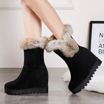 Women's Snow Boots Round Toe Fluffy Hair Ornament Thick Heel Warm Simple Shoes - BLACK 34
