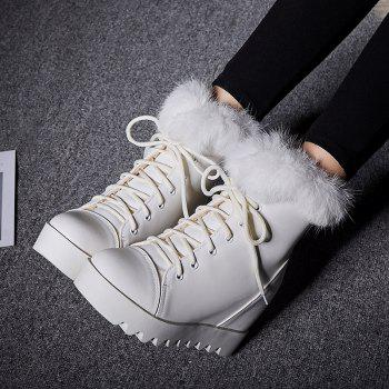 Women's Snow Boots Lace Up Brief Style Comfy Ladylike All-match Shoes - WHITE 34