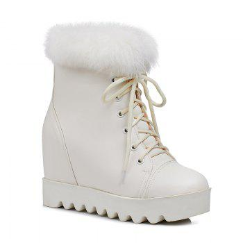 Women's Snow Boots Lace Up Brief Style Comfy Ladylike All-match Shoes - WHITE WHITE