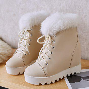 Women's Snow Boots Lace Up Brief Style Comfy Ladylike All-match Shoes - APRICOT APRICOT