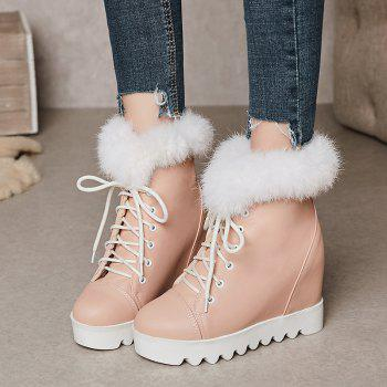 Women's Snow Boots Lace Up Brief Style Comfy Ladylike All-match Shoes - PINK 34