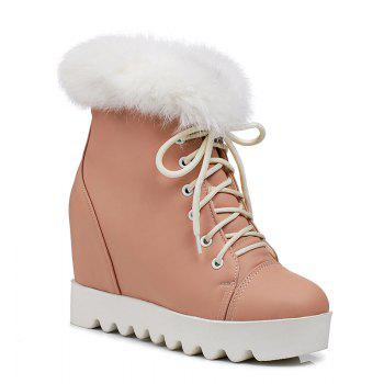 Women's Snow Boots Lace Up Brief Style Comfy Ladylike All-match Shoes - PINK PINK