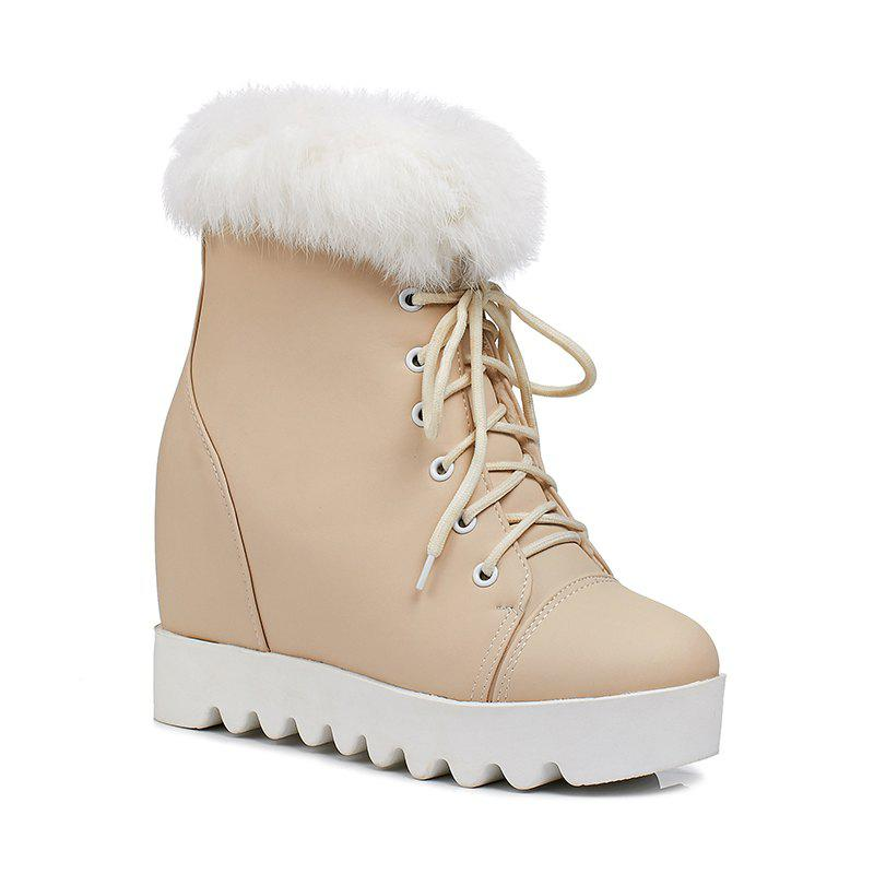 Women's Snow Boots Lace Up Brief Style Comfy Ladylike All-match Shoes - APRICOT 37