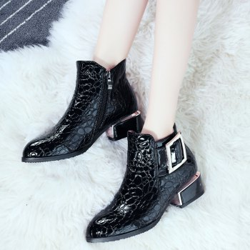 Women's Bottine PU Material Pointed Toe Medium Heels Rubber Sole Buckle British Style Shoes - BLACK BLACK