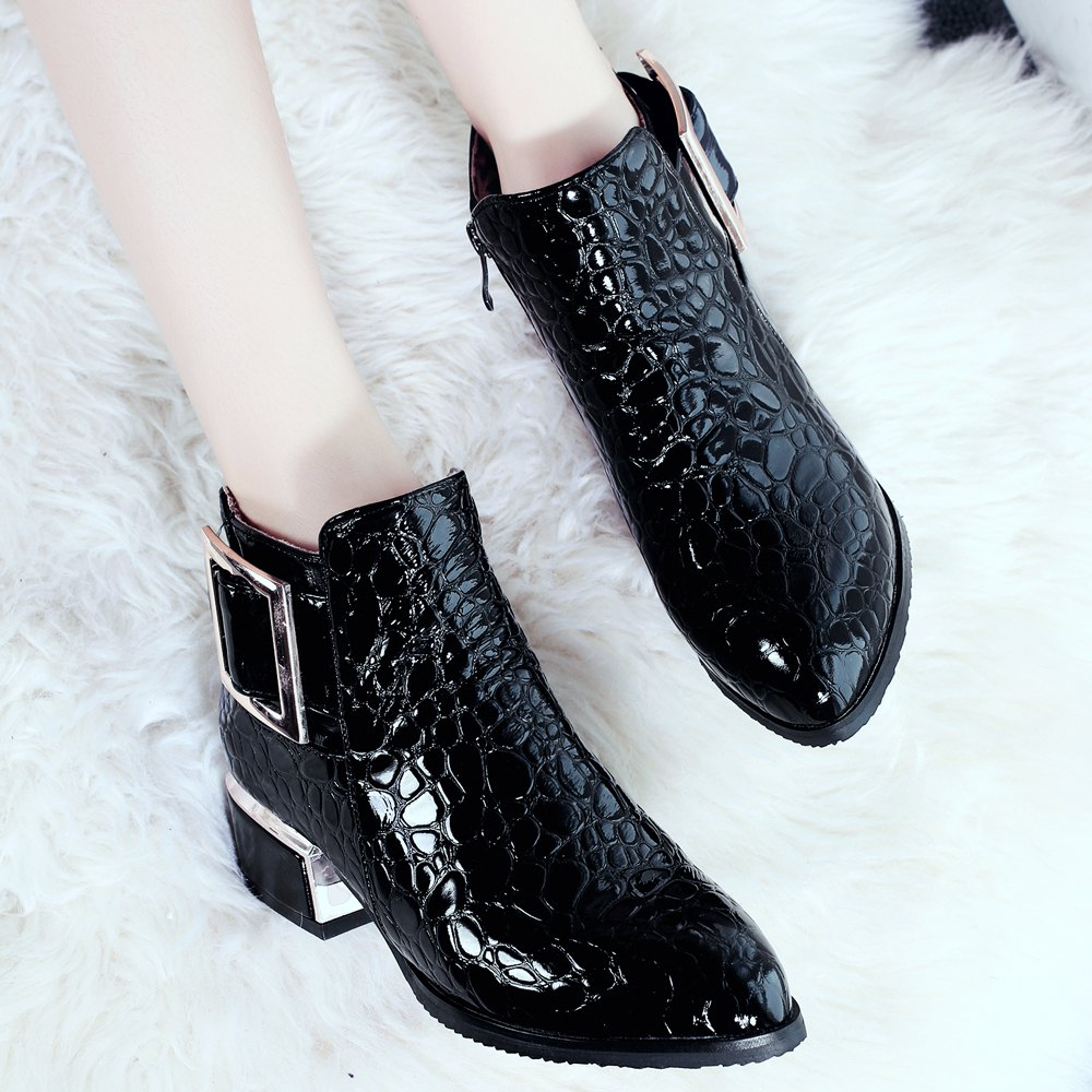 Women's Bottine PU Material Pointed Toe Medium Heels Rubber Sole Buckle British Style Shoes - BLACK 37
