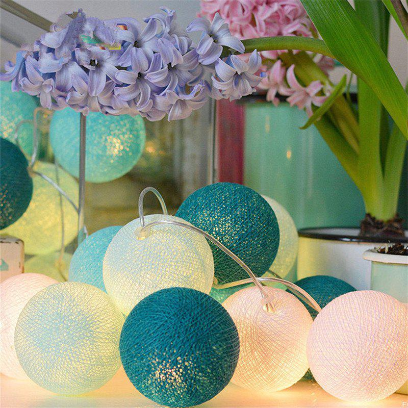 2M 20 LED Cotton Ball String Light for Wedding Garden Party Christmas Decoration - WHITE / BLUE