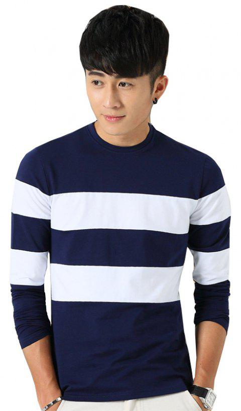 Men's Fashion Hit Color Slim Long-Sleeved T-Shirt - ROYAL L