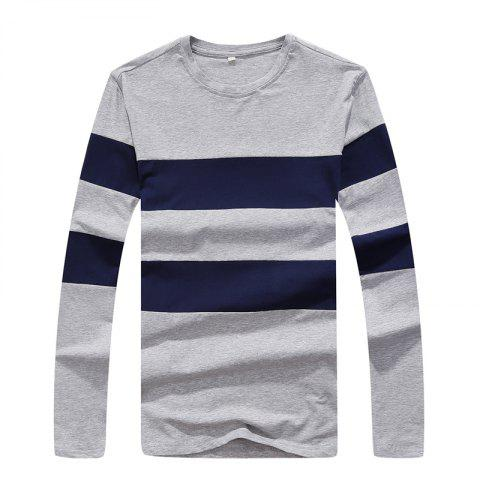 Men's Fashion Hit Color Slim Long-Sleeved T-Shirt - LIGHT GRAY 3XL