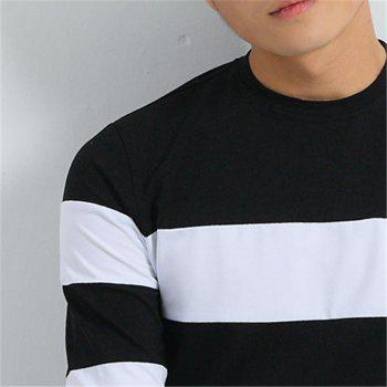 Men's Fashion Hit Color Slim Long-Sleeved T-Shirt - BLACK 3XL