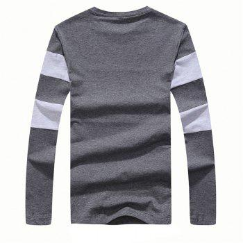 Men's Fashion Hit Color Slim Long-Sleeved T-Shirt - DEEP GRAY M