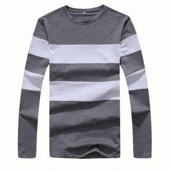 Men's Fashion Hit Color Slim Long-Sleeved T-Shirt - DEEP GRAY DEEP GRAY