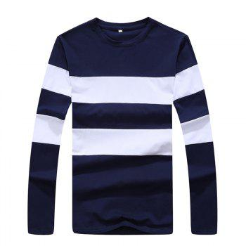 Men's Fashion Hit Color Slim Long-Sleeved T-Shirt - ROYAL XL