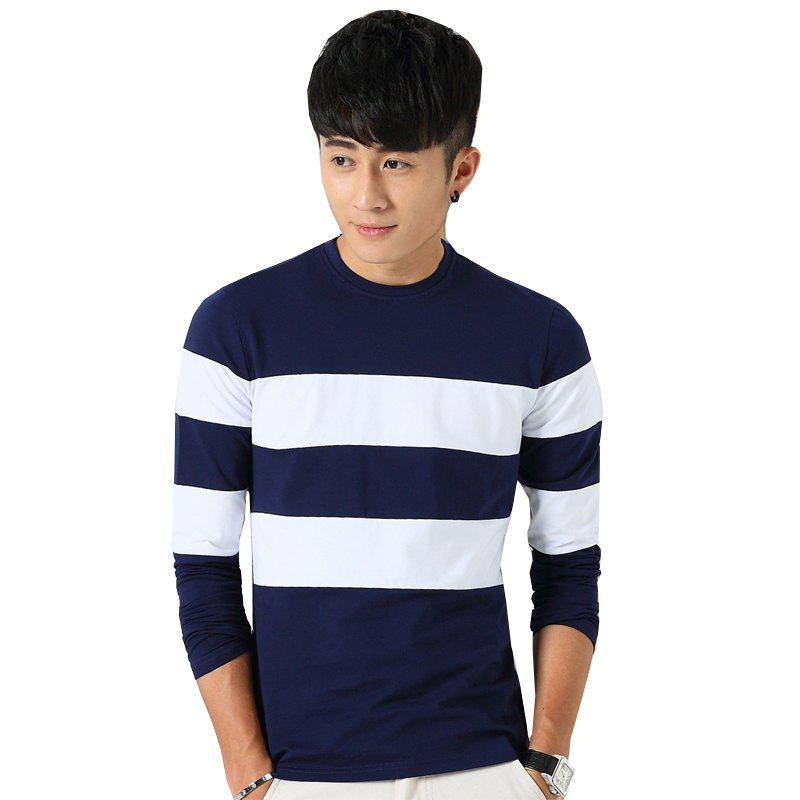 Men's Fashion Hit Color Slim Long-Sleeved T-Shirt - ROYAL 2XL