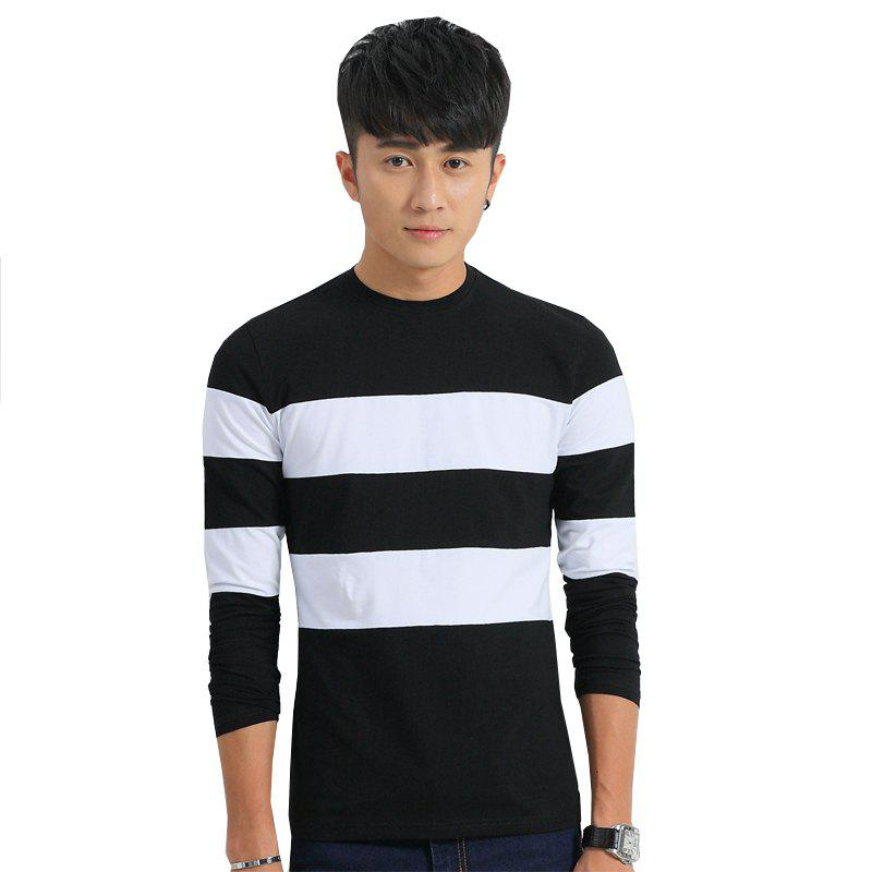 Men's Fashion Hit Color Slim Long-Sleeved T-Shirt - BLACK 2XL