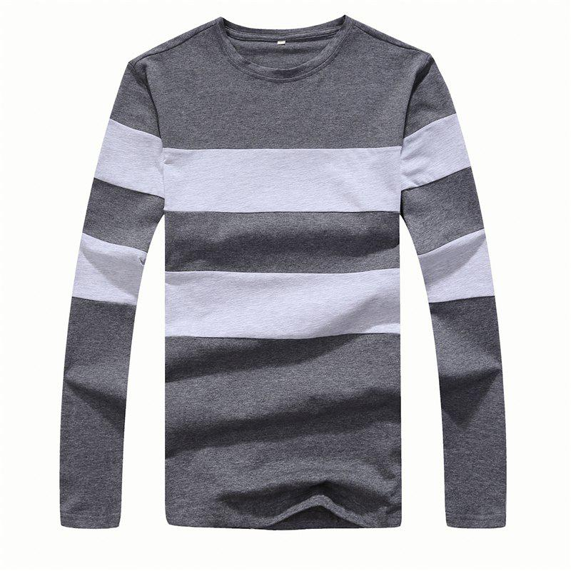 Men's Fashion Hit Color Slim Long-Sleeved T-Shirt - DEEP GRAY 2XL