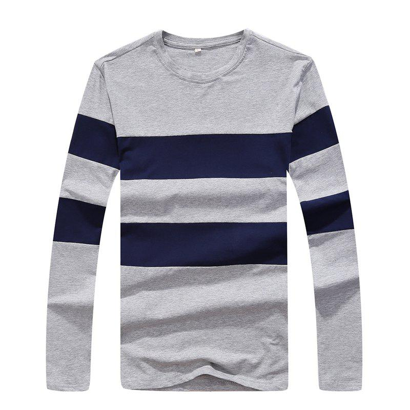 Men's Fashion Hit Color Slim Long-Sleeved T-Shirt - LIGHT GRAY XL
