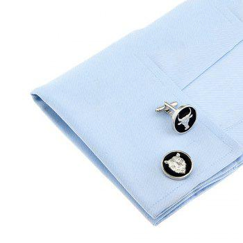Men's Animal Pattern Cattle Tiger Molding Cufflinks Accessory -  BLACK WHITE