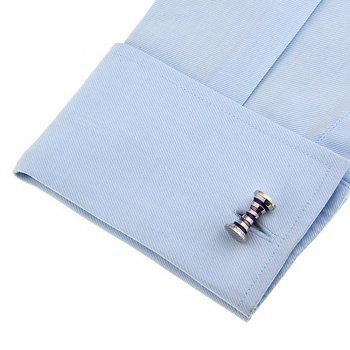 Men's Stripe Color Block Creative Stylish Cufflinks Accessory - BLUE / WHITE