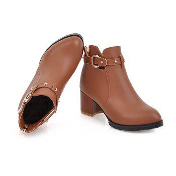 New Winter Boot Small Round Coarse Heel Boots Zipper - CAMEL 34