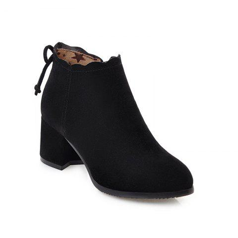 Fashion Casual Shoes and Lace Matte Bow Side Zipper Boots - BLACK 38