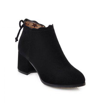 Fashion Casual Shoes and Lace Matte Bow Side Zipper Boots - BLACK BLACK