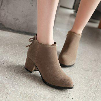 Fashion Casual Shoes and Lace Matte Bow Side Zipper Boots - CAMEL 34