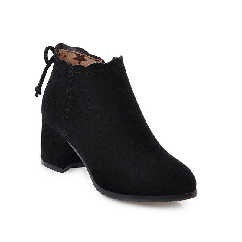 Fashion Casual Shoes and Lace Matte Bow Side Zipper Boots - BLACK 34