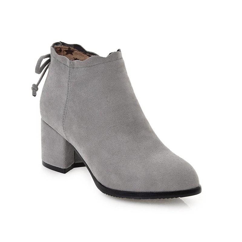 Fashion Casual Shoes and Lace Matte Bow Side Zipper Boots - GRAY 34