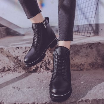 Women Fashion Ankle Martin PU Boots Waterproof Thick Low Heel - BLACK BLACK