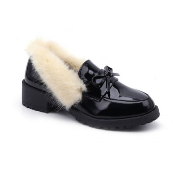 Women Winter Warm Roman Single Fur Shoes Simple Fashion Casual  PU Leather Thick Middle High Heel - BEIGE BEIGE
