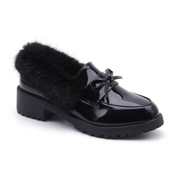 Women Winter Warm Roman Single Fur Shoes Simple Fashion Casual  PU Leather Thick Middle High Heel - BLACK BLACK
