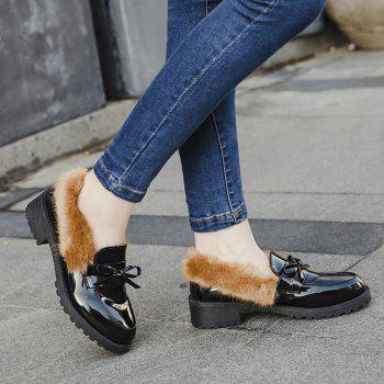 Women Winter Warm Roman Single Fur Shoes Simple Fashion Casual  PU Leather Thick Middle High Heel - BROWN BROWN