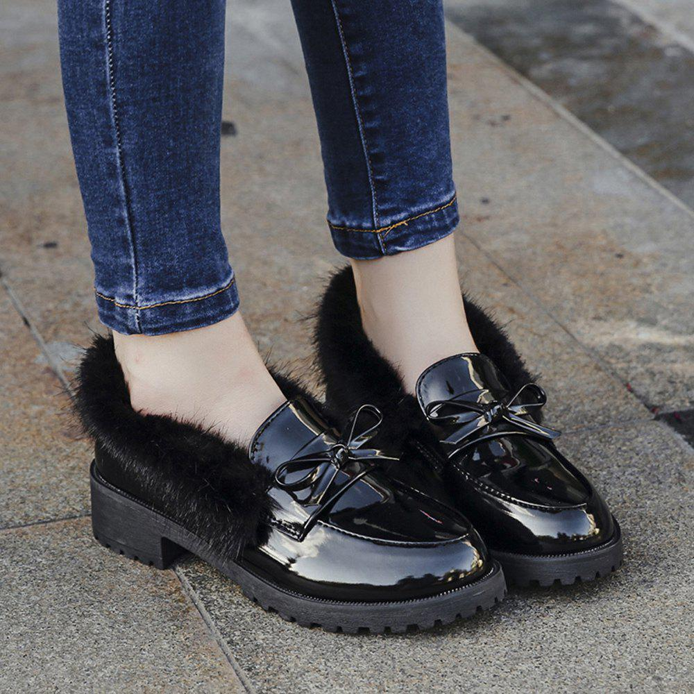Women Winter Warm Roman Single Fur Shoes Simple Fashion Casual  PU Leather Thick Middle High Heel - BLACK 36