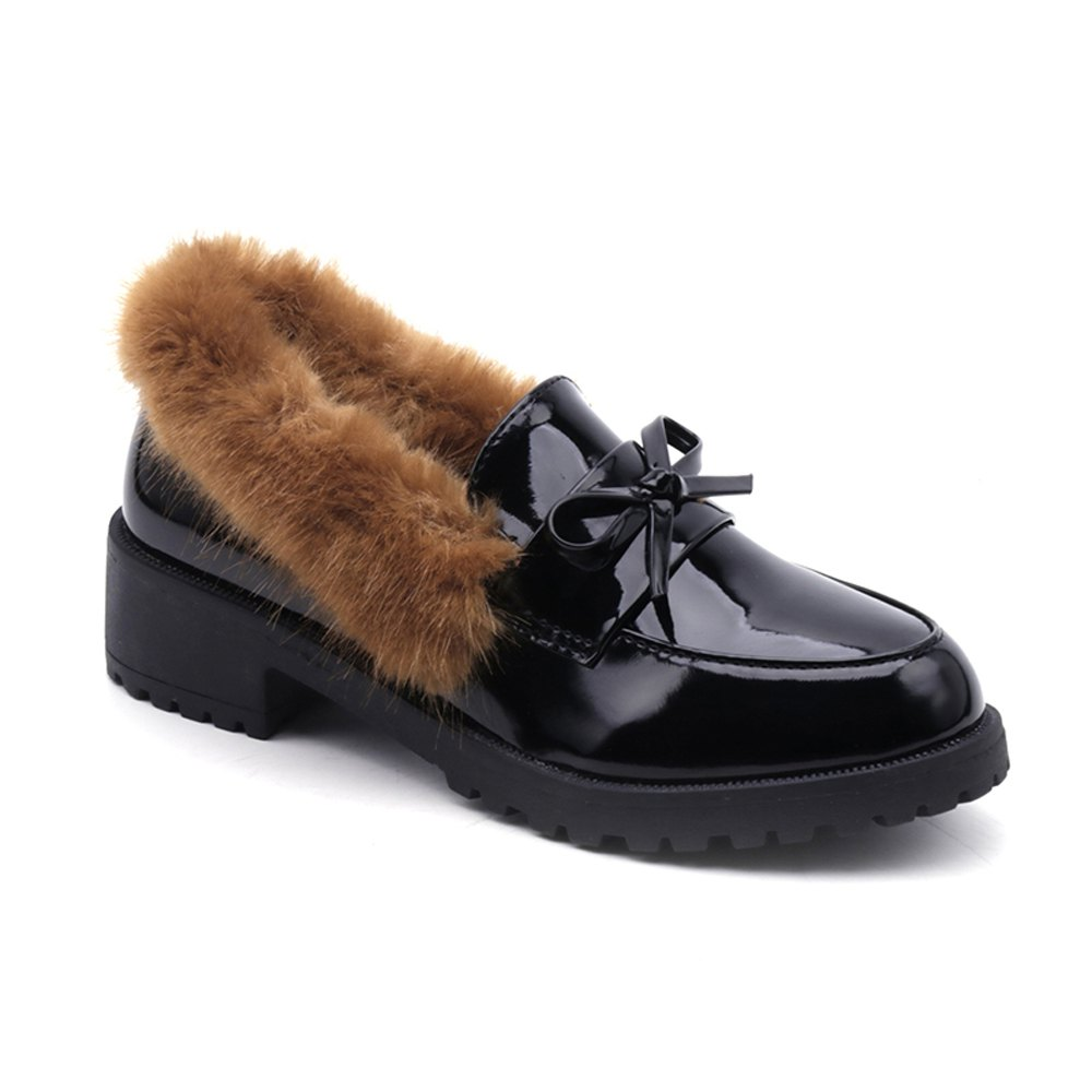 Women Winter Warm Roman Single Fur Shoes Simple Fashion Casual  PU Leather Thick Middle High Heel - BROWN 36