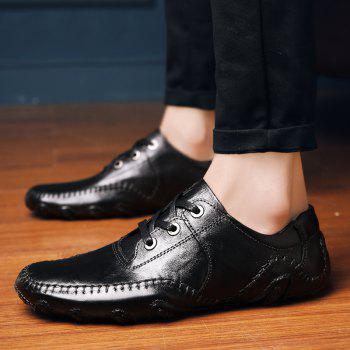 Comfortable Breathable Soft Leather Leisure Shoes - BLACK BLACK