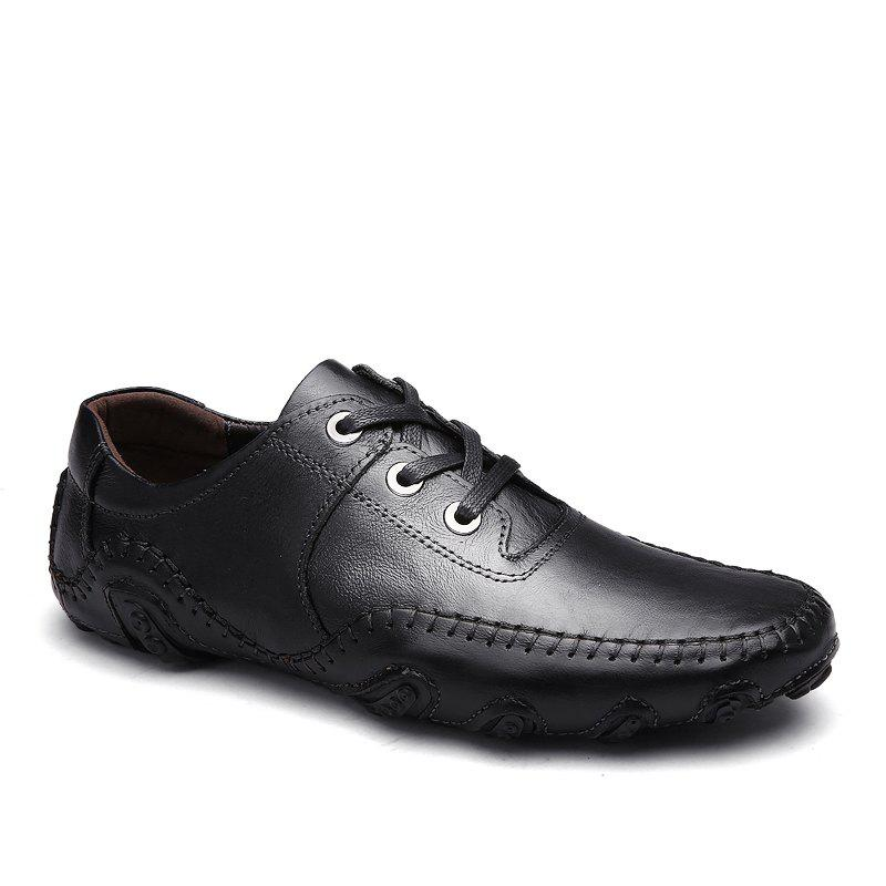 Comfortable Breathable Soft Leather Leisure Shoes - BLACK 38