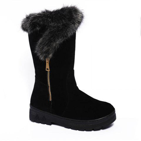 The New Round Anti-Skid and Cashmere Thermal All-Match Fashion Boots - BLACK 36