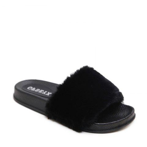 Un doux suède Toe Ladies Lady Fashion pantoufles - Noir 36