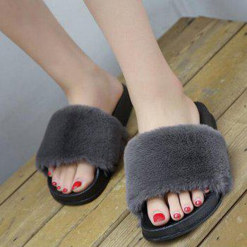 Un doux suède Toe Ladies Lady Fashion pantoufles - gris 44