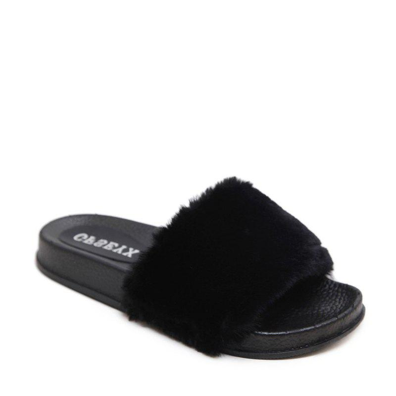 Un doux suède Toe Ladies Lady Fashion pantoufles - Noir 35