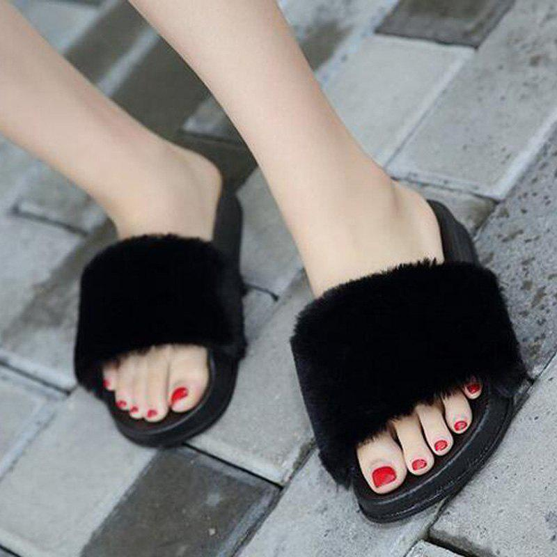 Un doux suède Toe Ladies Lady Fashion pantoufles - Noir 39